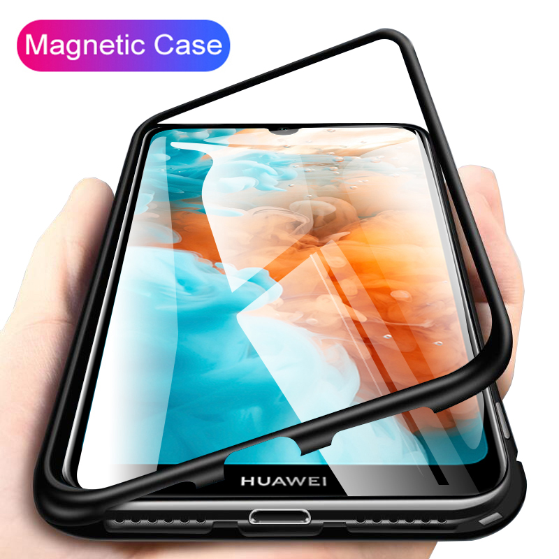 Magnetic Phone Case For Huawei P30 Pro P30 <font><b>Lite</b></font> P 30 <font><b>Mate</b></font> <font><b>20</b></font> Pro P20 Light Glass Back Cover For <font><b>Hawei</b></font> Honor 10 <font><b>Lite</b></font> Y9 2019 Film image