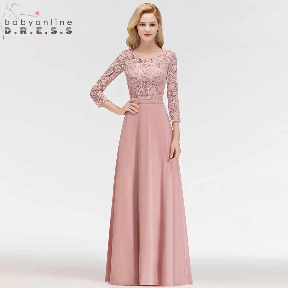 Vestido Madrinha Dusty Rose Renda Panjang Gaun Bridesmaid Seksi A Line Chiffon Gaun untuk Pesta Pernikahan Jubah Demoiselle D'honneur