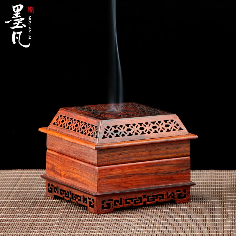 Red pot hollow carved sandalwood incense coil incense box pattern Aloes incense coil furnace oil burner