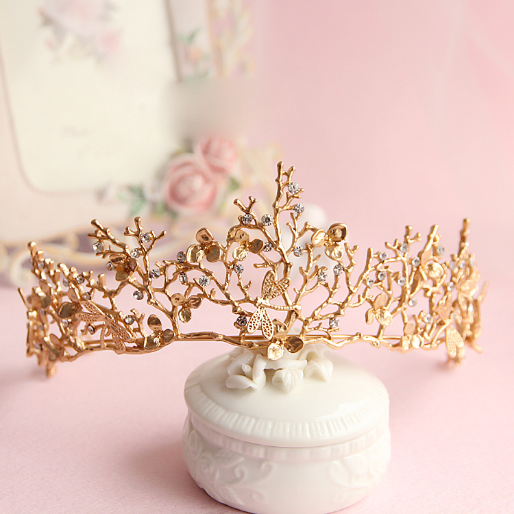 Baroque crown Golden color leaf tairas dragonfly bridal hair accessories Princess Bridal crowns headdress women ornaments gift