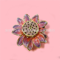 European Chinese style Metal enamel painted crafts Lotus model box, home desktop decor decoration ornaments(A578)