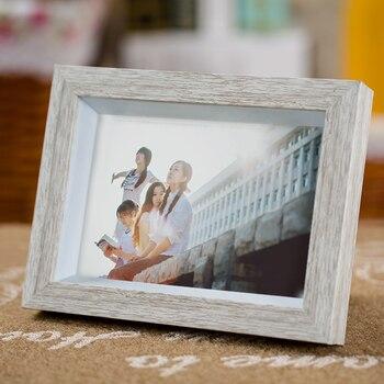 Marco de fotos de escritorio Vintage de grano de madera blanca, marco...