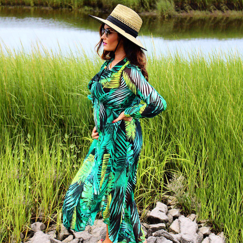 iShine autumn palm leaf printed long sleeve v neck beach maxi chiffon long dress casual split elegant women boho dress vestidos