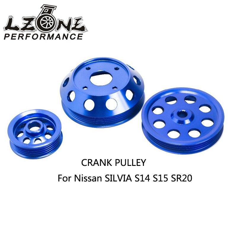 LZONE-poulie à manivelle légère pour Nissan SILVIA S14 S15 SR20 poulie bleue JR6872B