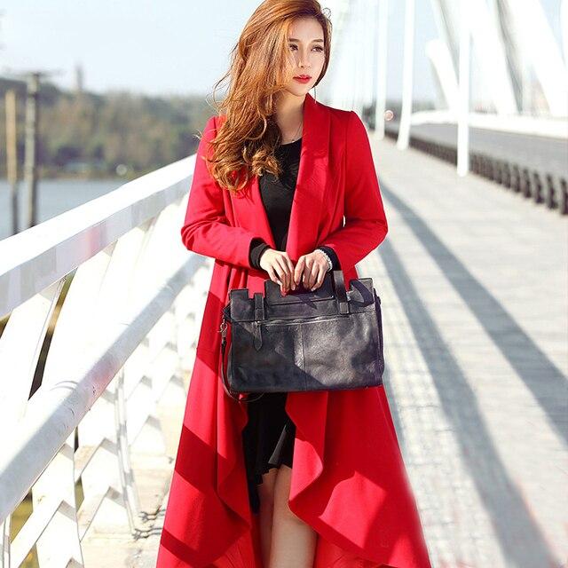 JRQIOT 2016 Nouveau Hiver Haute Couture Tendance Rue Femmes Mélange de  Laine Trench Coat Casual Long 4f0a3901219
