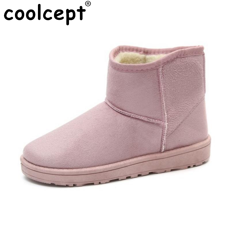 Coolcept  8 Colors Mid Calf Snow Boots Women Warm Fur Flats Boots For Cold Winter Shoes Thick Fur Short Women Botas Size 36-40