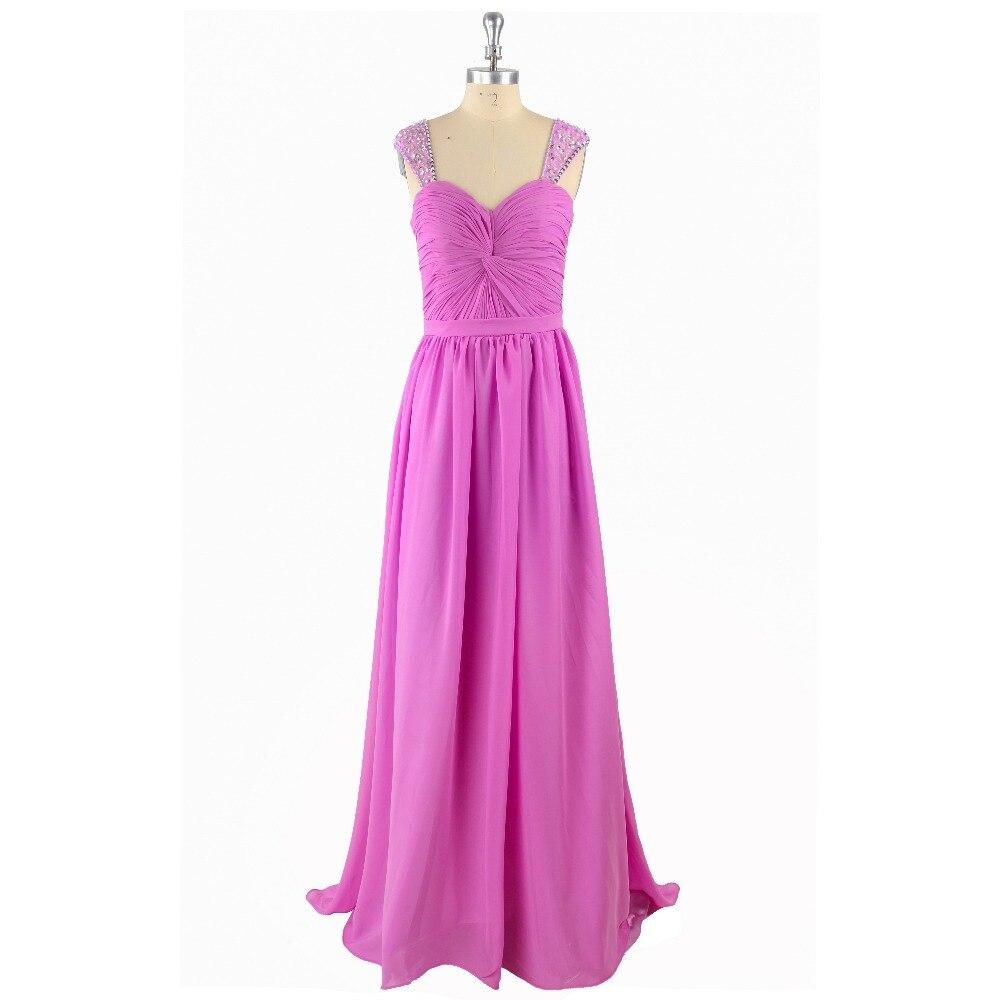 Fuchsia Straps Beading Pleat Simple Chiffon A-line Court Train Sleeveless Sweetheart   Prom     Dress