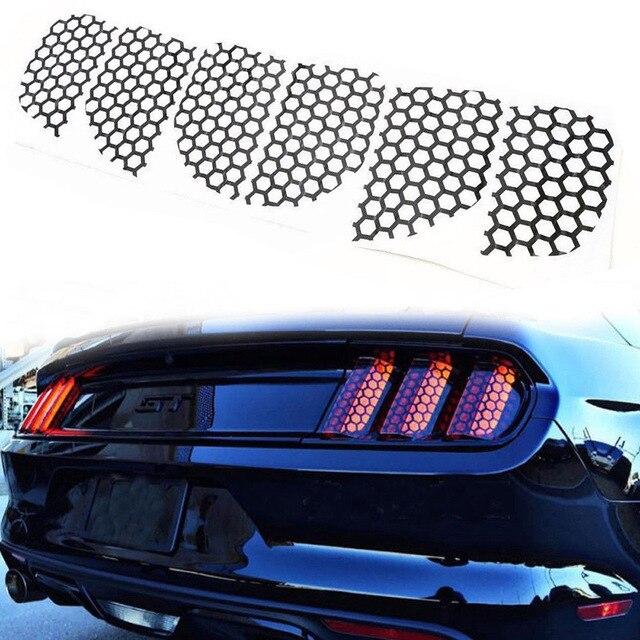 $ 3.38 6PCS Car Sticker Honeycomb Film Taillight Rear Tail Light Honeycomb Style Stickers Cover for Ford Mustang Decoration Sticker
