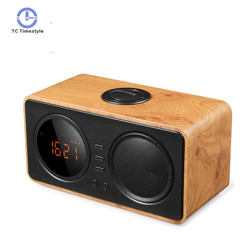 Hot Sale Wood Vintage TF Card AUX Play FM Radio Wireless Bluetooth Mini LED Alarm Clock Speaker Digital Display Despertador