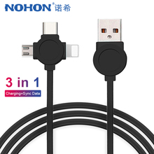 NOHON 3 in 1 USB Cable For iPhone X 8 7 Plus Micro Type C Samsung S9 S8 Fast Charging Sync Date Charger Cord Line