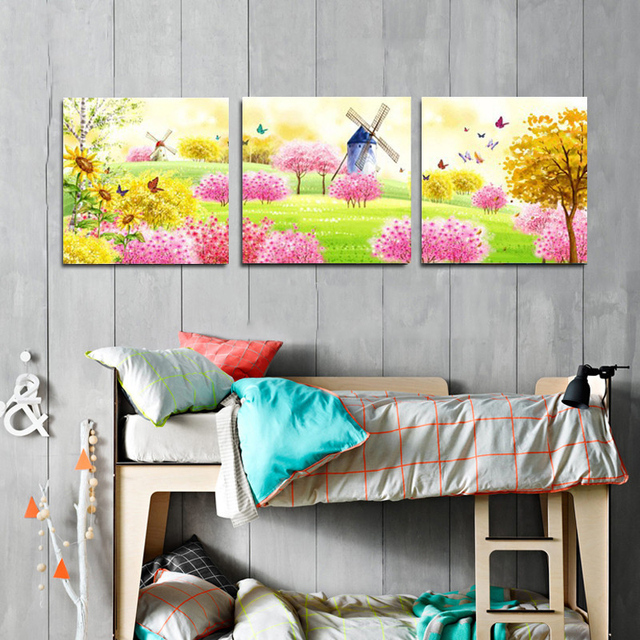 canvas prints for baby room. 3 Piece Cartoon Canvas Prints Pastoral Wall Art Decor Painting Picture For Kids Room Kindergarten Baby N