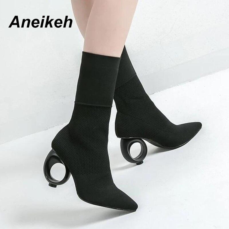 Aneikeh 2019 Trendy Design Stretch Socke Stiefel Knöchel