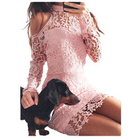 Womens Elegant Wedding Party Pink Dress Sexy Night Club Halter Neck Long Sleeve Sheath Bodycon Lace