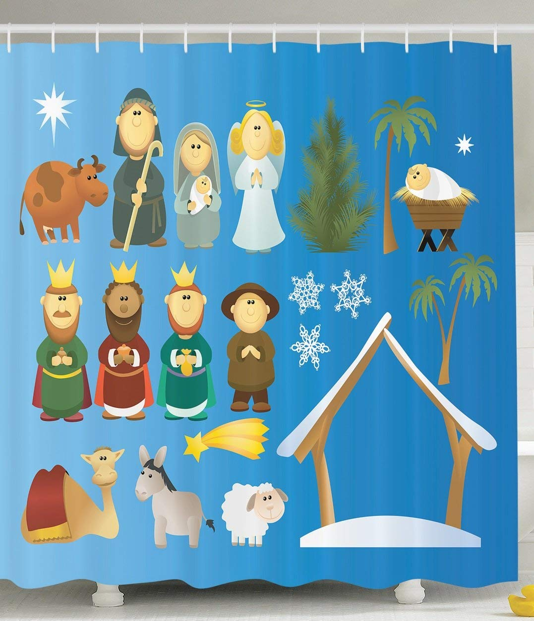 Gifts Nativity Decoration Theme Birth of Faith Cartoon Holy Figures Traditional Art Marry Illustration Fabric Shower Curtain