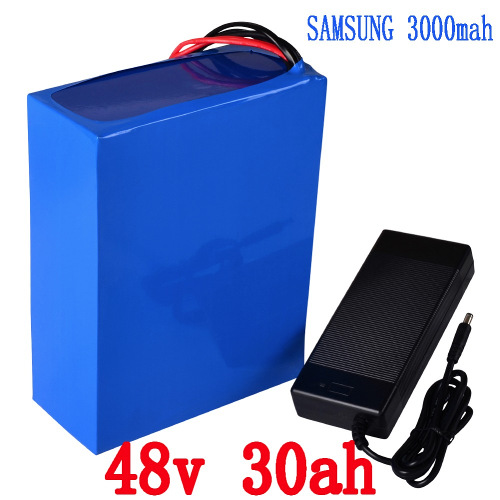 Free shipping 1500W 2000W Scooter battery 48V 30AH Electric Bike Lithium Battery use for Samsung 3000mah Cell with 5A Charger 2 wheels kick scooter 350w lithium battery electric scooter with seat max load 150kg for adults free shipping