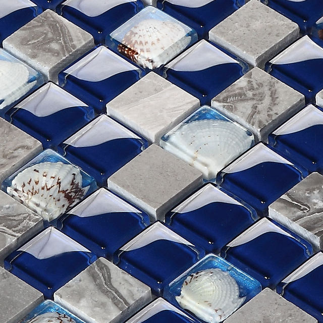 Online Shop 8mm Gery Holz Marmor Stein Sea Shell Blau Gelb Kristall Glasmosaik  Küche Backsplash Badezimmer Dusche Pool Wandfliese | Aliexpress Mobil
