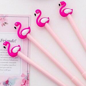 Image 4 - 30 sztuk kreatywne flamingi modelowanie pióro neutralne żel serce dziewczyna studenci piśmienne pióro z czarną wodą kawaii biurowe