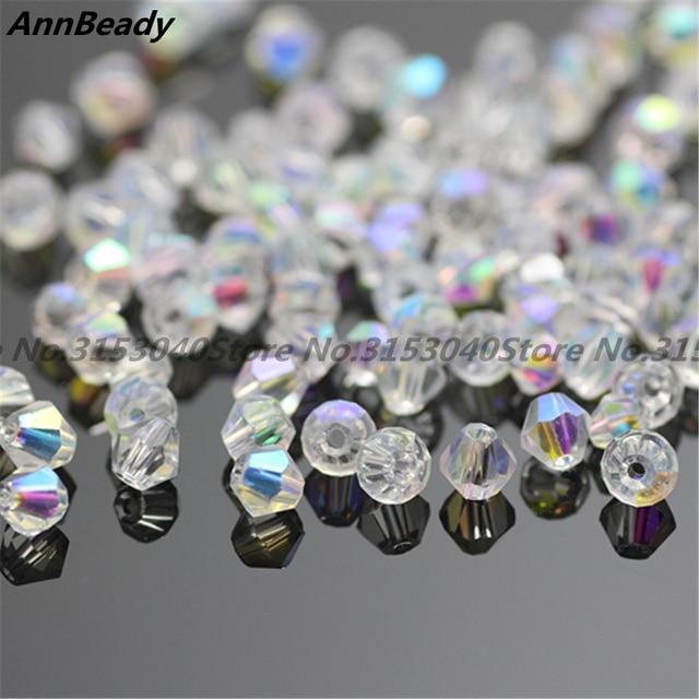 100 pièces blanc ab couleur 4mm Bicone perles de cristal perles de verre en vrac perles d'espacement bijoux à bricoler soi-même faisant autriche perles de cristal