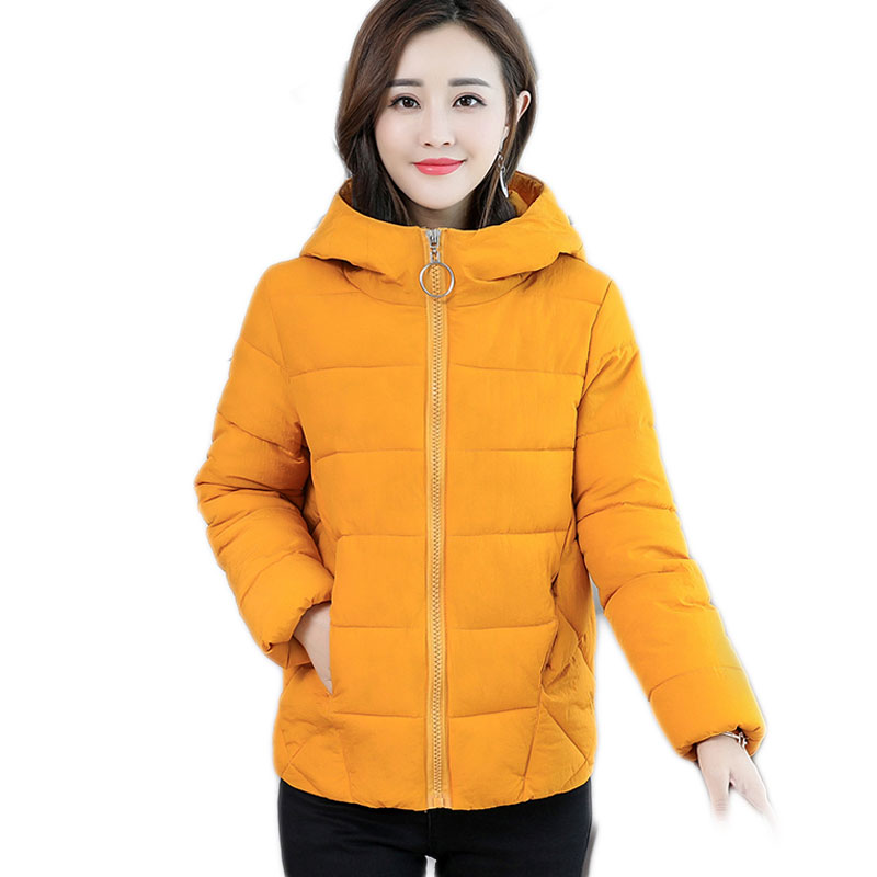 Brieuces Jacket Women Winter Fashion Warm Thick Solid Short Style Down Cotton Hooded Padded Parkas Woman Coat Plus Size S -6XL