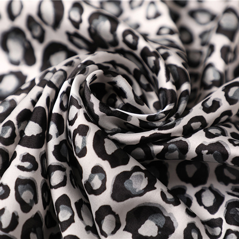 Elegant Women 70 70cm Square satin Silk Scarf black red yellow Leopard Printed Bandana Fashion Spring summer Scarves Kerchief in Women 39 s Scarves from Apparel Accessories