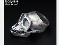 Uglyless реального 925 пробы серебро Скелет Для мужчин перстни холодного пара панк череп кольцо готический ручной преувеличены ювелирные издели