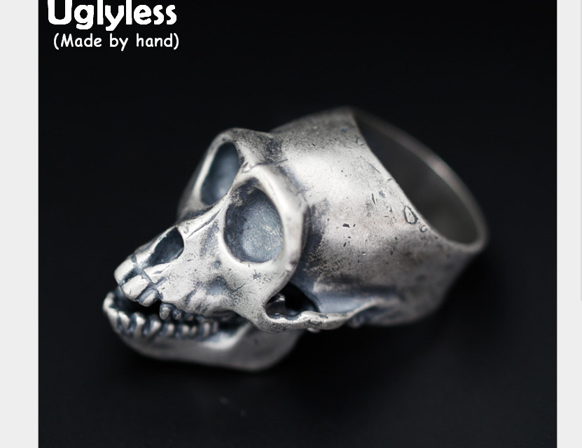 Uglyless Real 925 Sterling Silver Skeleton Men Finger Rings Cool Steam Punk Skull Ring Gothic Handmade Exaggerated Jewelry Novel 925 sterling silver bracelets for men skull bracelet vintage punk rock gothic bague fashion men cool exaggerated fine jewelry