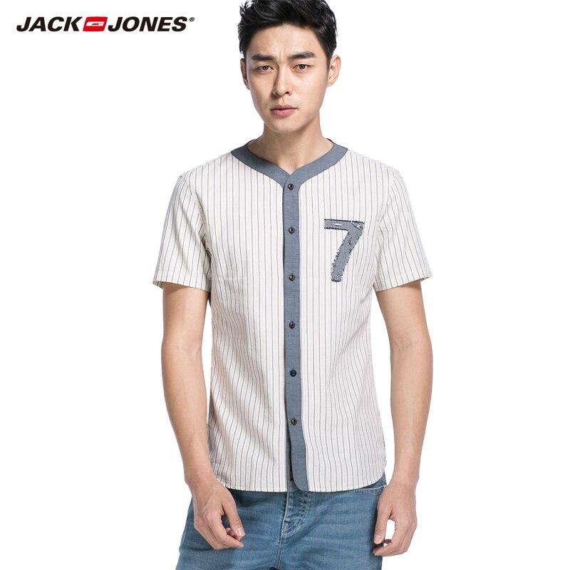 JackJones neue ankunft männer 100% baumwolle komfortable streifen scheißt männlichen tops 215104002
