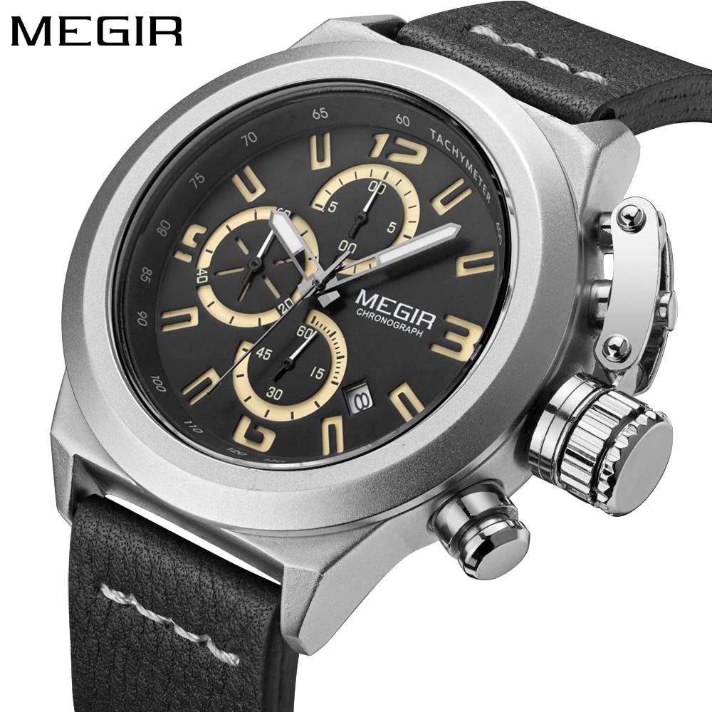 Megir Chronograph Fashion New Style Watches Mens Top Brand Luxury Leather Strap Quartz Watch Men Wrist watch Clock reloj hombre недорго, оригинальная цена