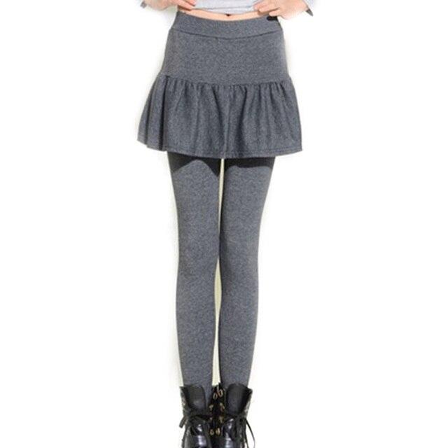 Filles Pantalons Chauds Femmes Jupe Leggings Skinny Automne Jupe avec Pantalon  Faux Deux Pièces Crayon Pantalons a68113c07a6