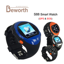 ZGPAX S88 GPS SOS Baby Smart Watch for Older Child Kids U Smartwatch Phone with SIM Slot LCD Screen GPS Position LBS Location