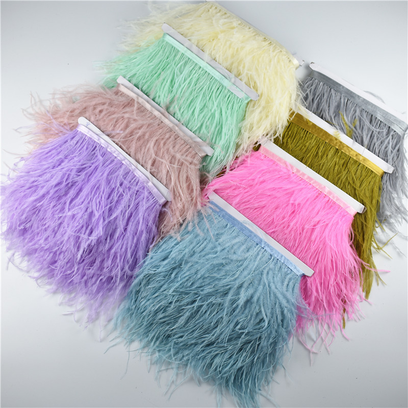 10 Meter 10 15CM Real Ostrich Feather Trims Fringe Ribbon for Skirt/Dress Black White Natural Ostrich Feather For Crafts Plumage-in Feather from Home & Garden    2