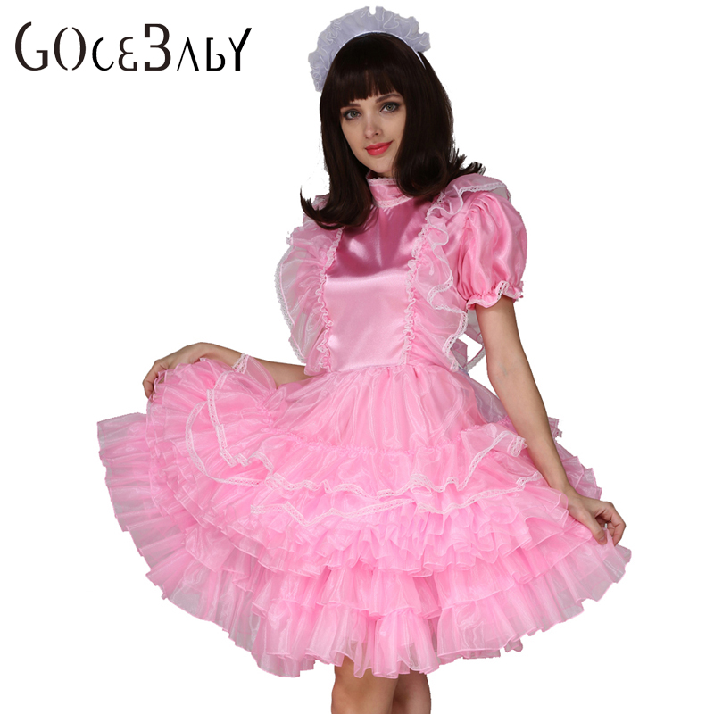 Sissy Forcé Satin Femme De Chambre Rose Verrouillable Robe Costume Uniforme Crossdress Cosplay Costume
