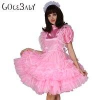 Sissy Forced Maid Satin Pink Lockable Dress Costume Uniform Crossdress Cosplay Costume