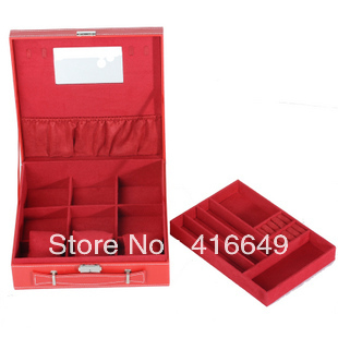 Freeshipping High quality Fashion Imitation China leather Jewelry Box For Cute Girls Jewelry Carrying Case Wholesale