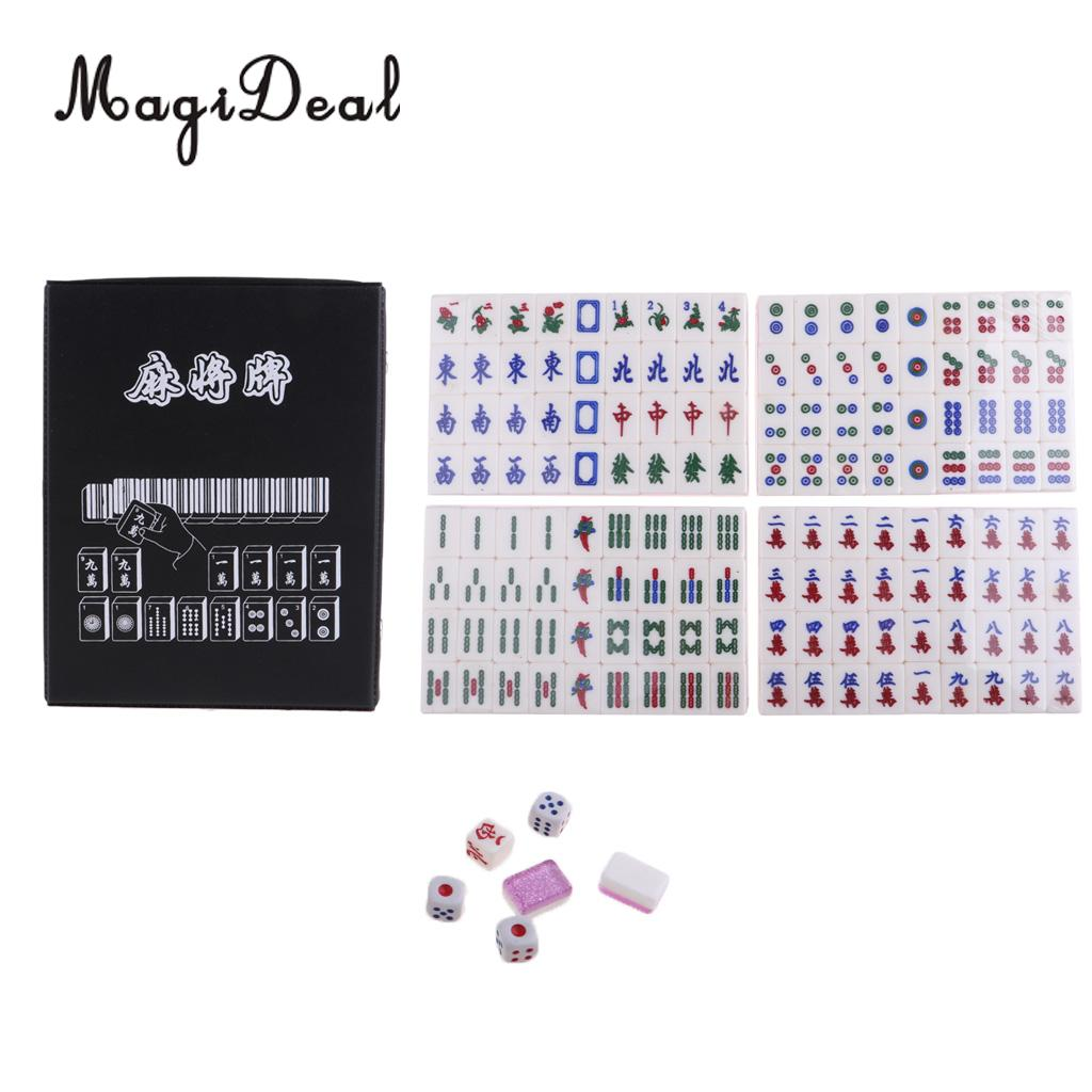 MagiDeal 1 Set 144 Tiles Mini MahJong Set Portable Mahjong Chinese Toy with Box Party Family Board Games Entertainment Gifts