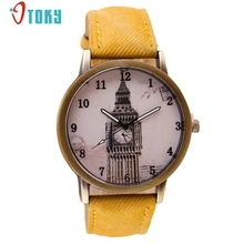 Retro Clock Tower WristWatch Cowboy PU Leather Band Analog Quartz Watch Creative