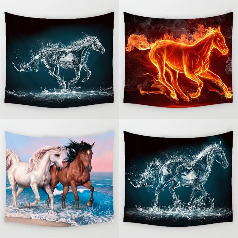 Comwarm 3D Laufende Pferde Muster Tapisserie Tridimensional Wandbehang Gobelin für Süße Wärme Wohnzimmer Dekorative Wandbild