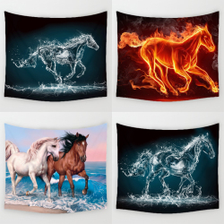 Comwarm 3D Running Horses Pattern Tapestry Tridimensional Wall Hanging Gobelin for Sweet Warmth Living Room Decorative Mural