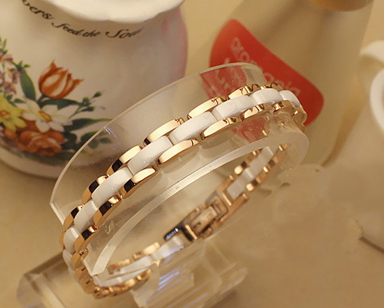 Free shipping Fashion White / Black Ceramic bracelets & bangles, Rose Gold/Silver Stainless steel Women/Men brand pulseiras