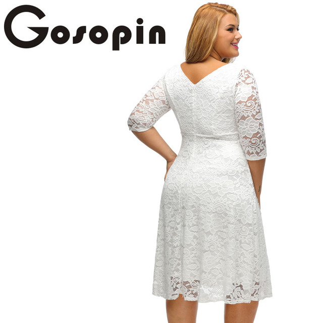 Gosopin New Elegant Large Size Lace Dresses 2017 White Floral Lace Sleeved Fit and Flare Curvy Dress  Vestidos Mujer LC61395