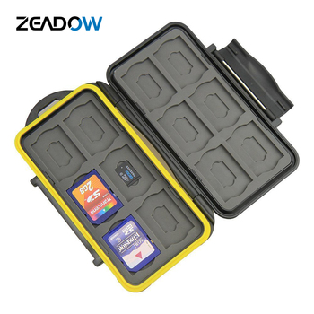 Water-resistant Memory Card Case Shockproof Memory Card Carrying Box 24 Slots For 12 SDHC/SDXC Cards And 12 Micro SD Cards