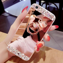 Phone Cases For iPhone 6 6S Plus 7 Plus Luxury Women Diamond Mirror Case Ring Stand Soft TPU Cover For iPhone 6S 5S Case Glitter