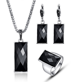 Black Rectangle Necklace Sets For Party Gifts