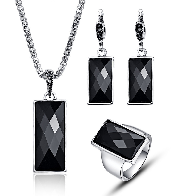 Trendy Geometric Women Jewelry Sets Elegant Antique Crystal Resin Jewelry Fashion Black Rectangle Necklace Sets For Party Gifts
