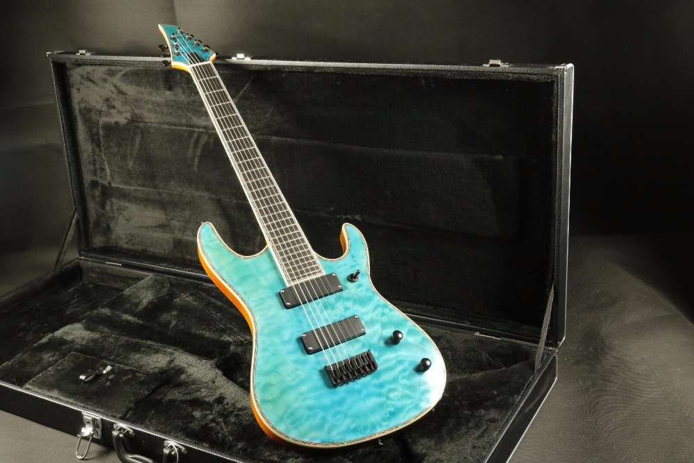 Hign end quality 7 string through body quilted maple top abalone binding electric guitar Guitarra all color Accept