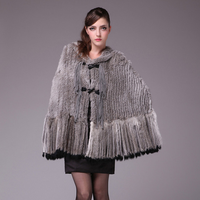 Autumn Ladies' Genuine Natural Knitted Rabbit Fur Stole with Hoody and Tassels Poncho Female Winter Wraps Cape VF0370
