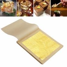 Novo 50/100 Pcs 24 K Gilding Folha Folha De Ouro Comestível Cozinhar Alimentos Trabalho de Arte Decor 4.33×4.33 cm