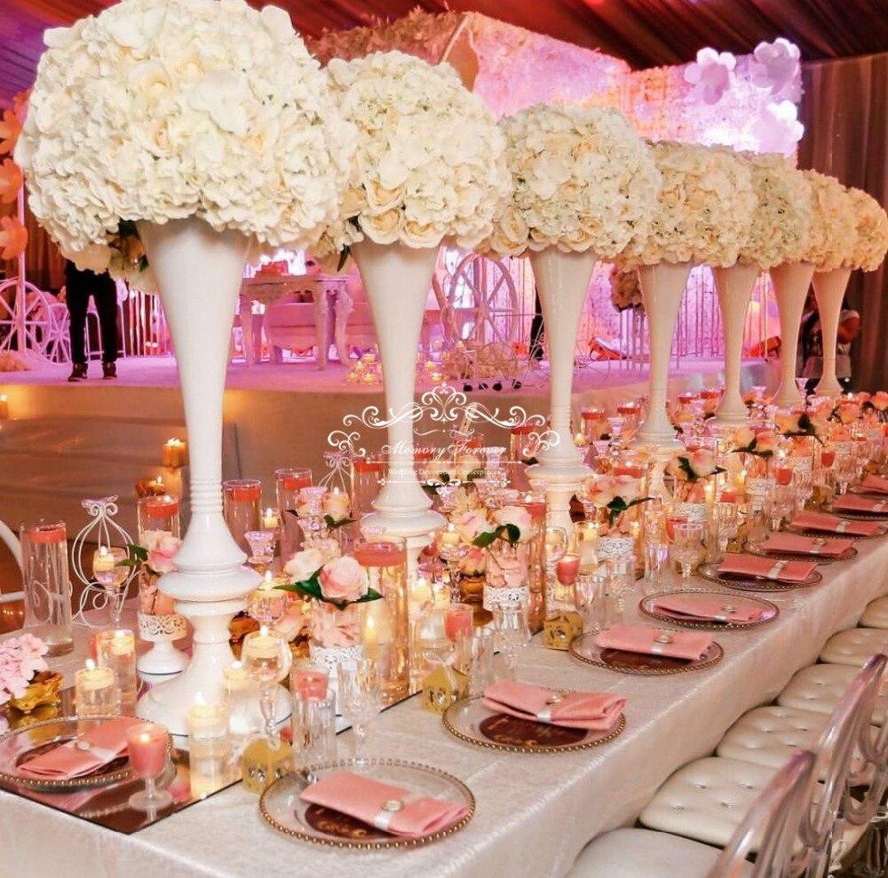 Neue Stil Hochzeit Dekorationen Tafelaufsatz Weiß Blume Vase Metall Blume Stehen Ehe Trompete Vase 92 cm Hoch