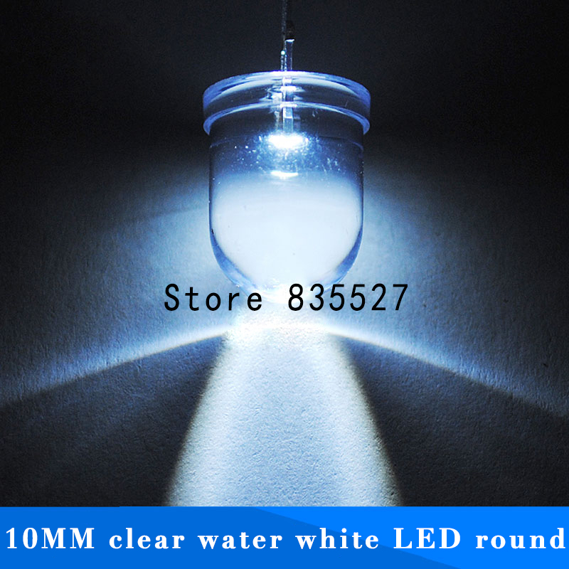 50pcs/lot F10 Round Water Clear 10mm White LED Super Bright Light Lamp Beads Emitting Diode Diodes DIP For DIY Lights Head