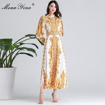 цена на MoaaYina Fashion Designer Runway dress Spring Autumn Women Dress Lantern Sleeve Floral-Print Belt Elegant Holiday Dresses